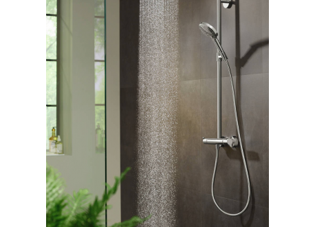 Hansgrohe Raindance Select S Colonne de douche 240 1 jet PowderRain avec mitigeur thermostatique, Aspect Doré poli (27633990)